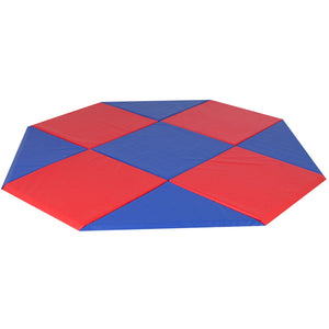 Children's Factory Modular Mats – 9'x9′ Octagon Blue & Red CF321-555 - Welcome 2 My Crib