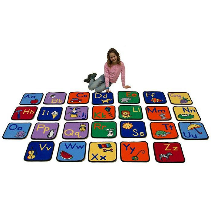 Learning Carpet Alphabet Seating Squares with Images – Set of 26 SKU CPR733 - Welcome 2 My Crib