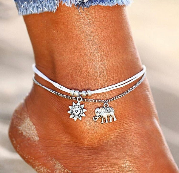 Elephant and Sun Anklet