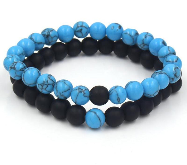 Ocean Blue and Black Onyx Two Piece Bracelet