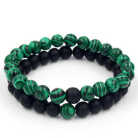 Mystic Green and Black Onyx Two Piece Bracelet