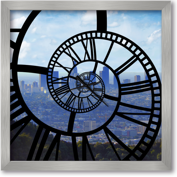 """Los Angeles "" - Square Window Spiral Clock"