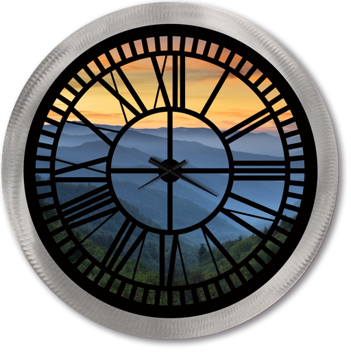 """Smokey Mountains"" - Roman Window Clock"