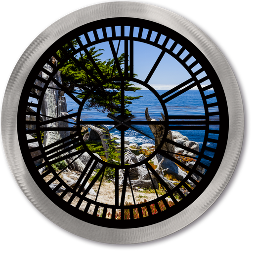 """Pebble Beach"" - Roman Window Clock"