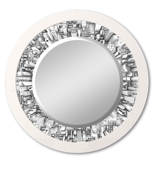 """Circle City"" - Round White Mirror"