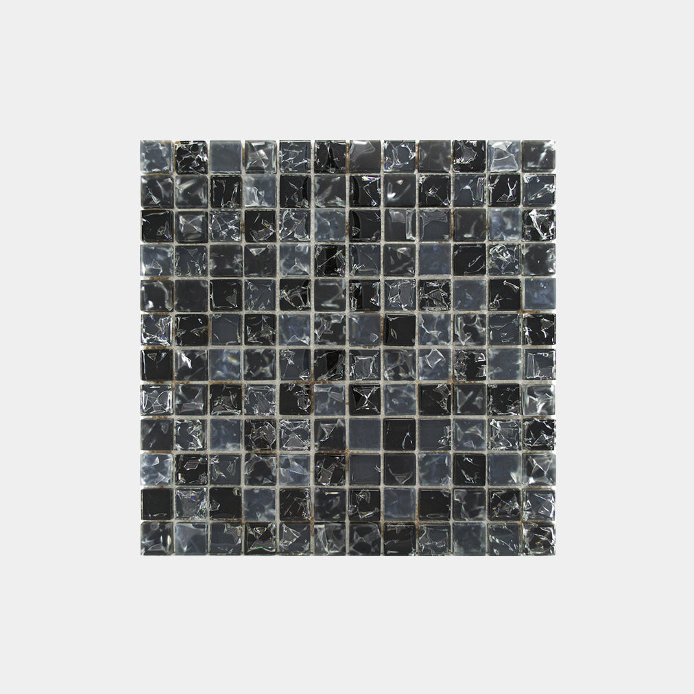 Mix Grey Blue Crackled Glass Square Mosaic