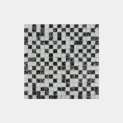 Grey Black Crackled Square Glass Mosaic