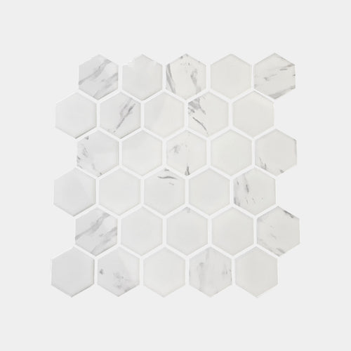Carrara look Small Hexagon Matt Mosaic
