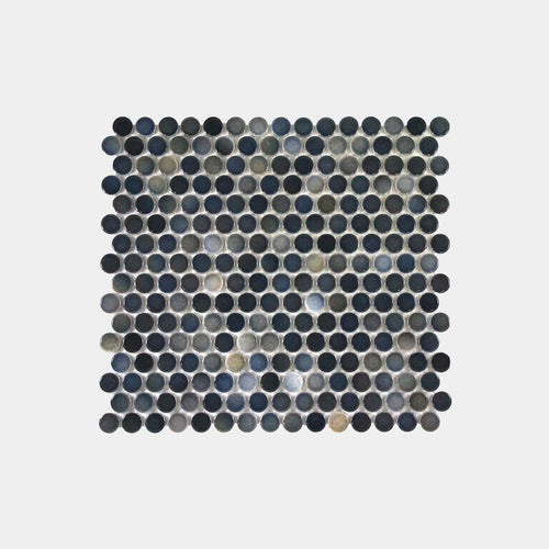 Mixed Navy Gloss Mixed Penny Round Mosaic