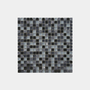 Mixed Marble Grey Blue Glass Square Mosaic