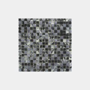 Mixed Marble Grey Glass Square Mosaic
