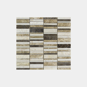 Mixed Marfil Brown Rectangle Mosaic