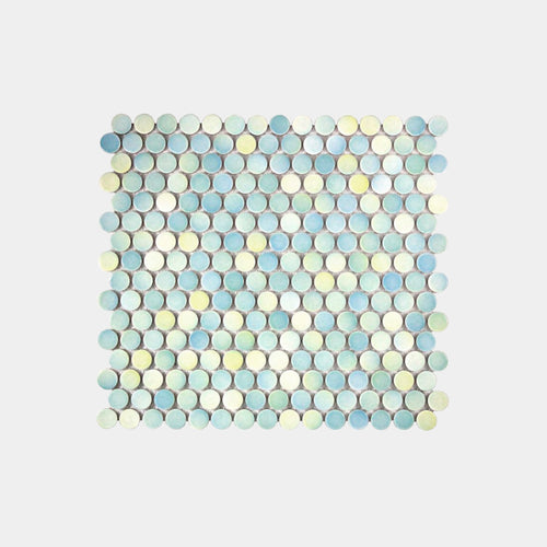 Sea Teal Gloss Penny Round Mosaic