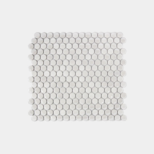 Pearl White Gloss Penny Round Mosaic