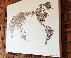 World Map Print on Canvas
