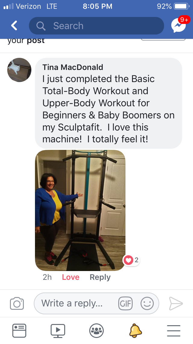 Tina from Canada Showing Her SCULPTAFIT Home-Gym System