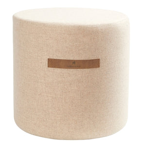 Sara- Round Wool Pouffe in Light Beige