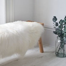 Load image into Gallery viewer, large sheepskin rug, throw, white sheepskin fur rug, double icelandic sheepskin in white, fur rag,