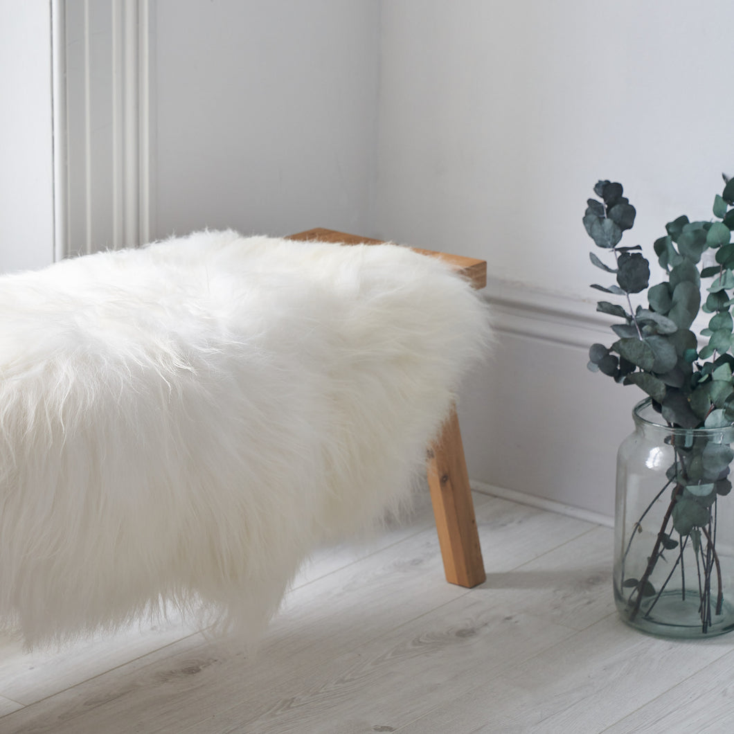 large sheepskin rug, throw, white sheepskin fur rug, double icelandic sheepskin in white, fur rag,