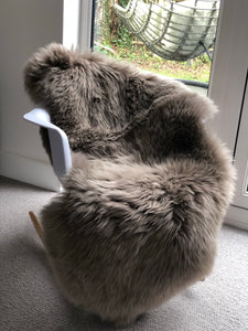 taupe double sheepskin rug,long hair sheepskin rug, fur rug