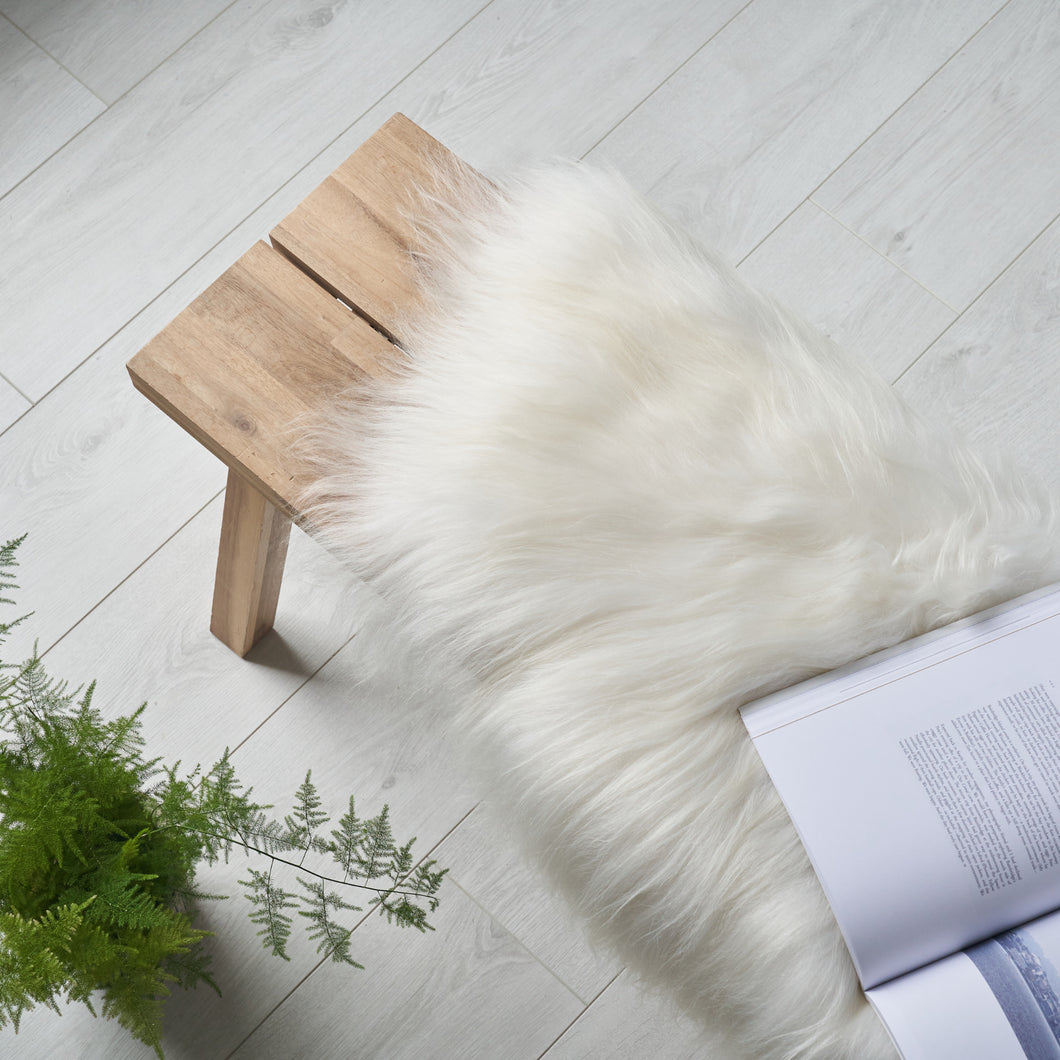 organic icelandic sheepskin rug / throw in white