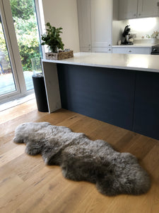 double sheepskin rug in taupe, large sheepskin throw