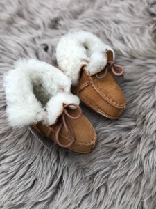Lace up sheepskin booties/slippers