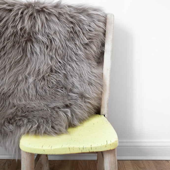 Eco Tanned Sheepskin Rug/Throw in Vole