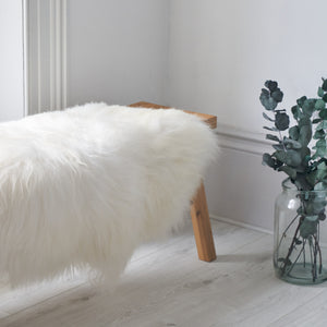 long hair icelandic sheepskin rug in white