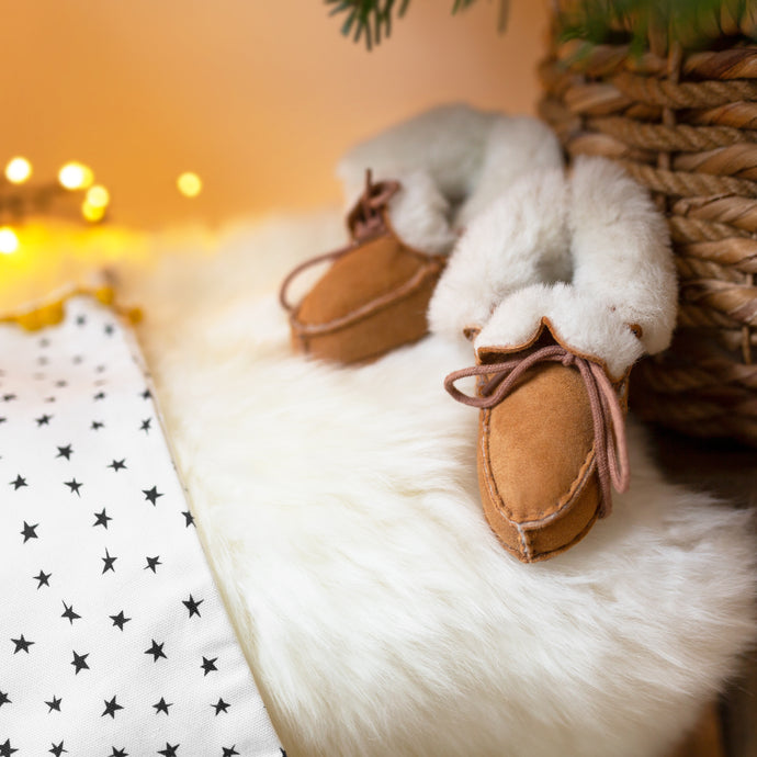 Sheepskin booties, baby gifts sets, baby sheepskin slippers, baby slippers, Christmas gift