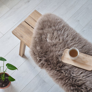 luxury Hand crafted sheepskin rug in taupe