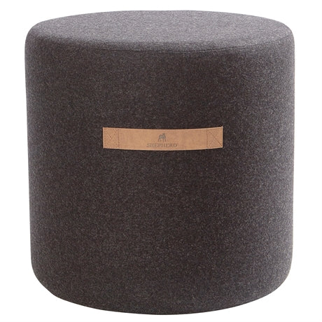 Sara- Round Wool Pouffe in Black