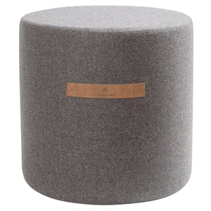 Sara- Round Wool Pouffe in Granite