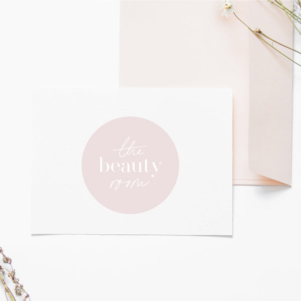 Minimalist Pre made logo, Circle Blog logo design, Blush Pink Beauty logo and watermark, Pastel Business logo design, Scandi logo design