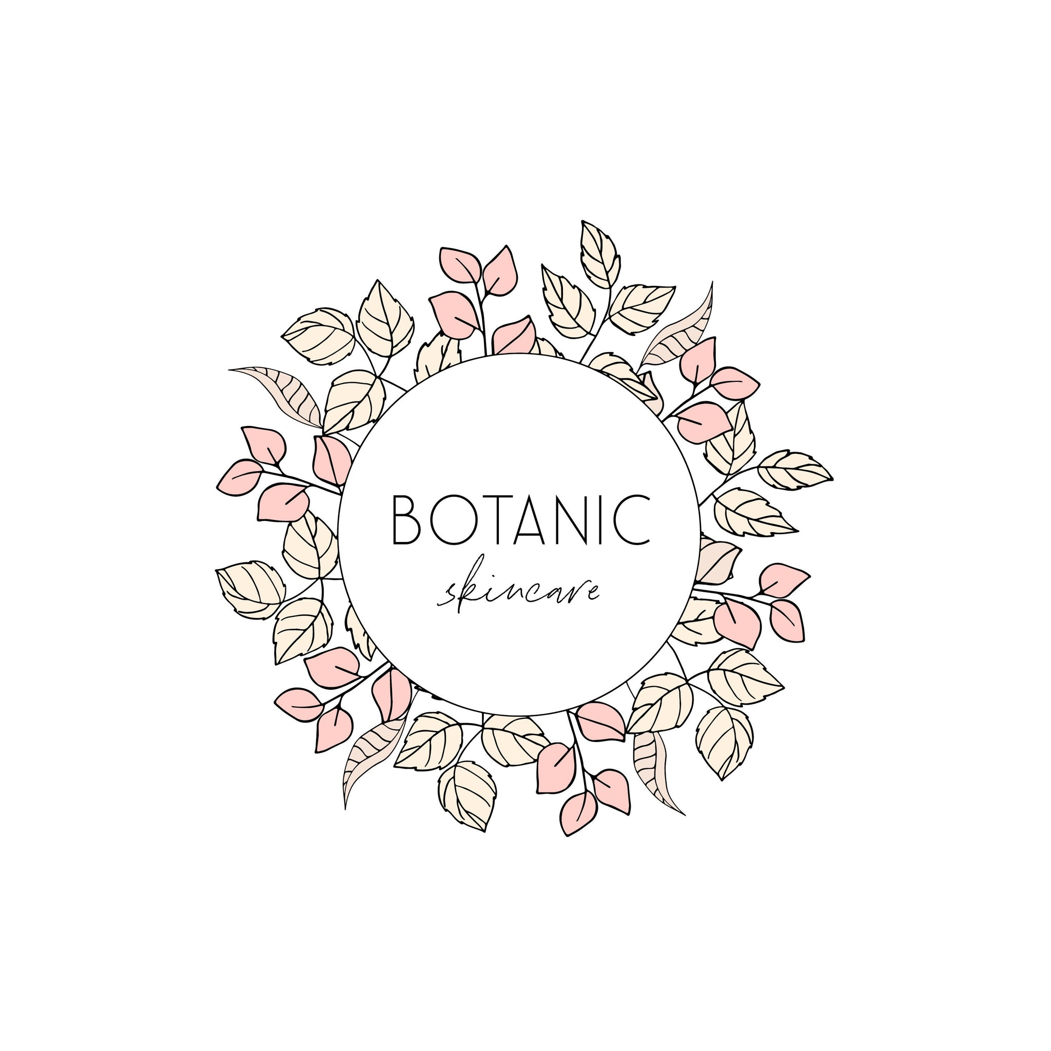 Blush Leaf logo design, Photography branding Business logo design, Pre made Logo and Watermark, Unique Circular Floral Beauty logo branding
