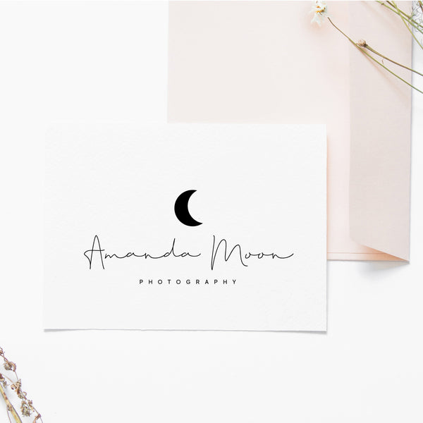 Minimalist Pre made logo, Text Blog logo design, Simple logo and watermark, Calligraphy Business logo design, Script Scandi logo design
