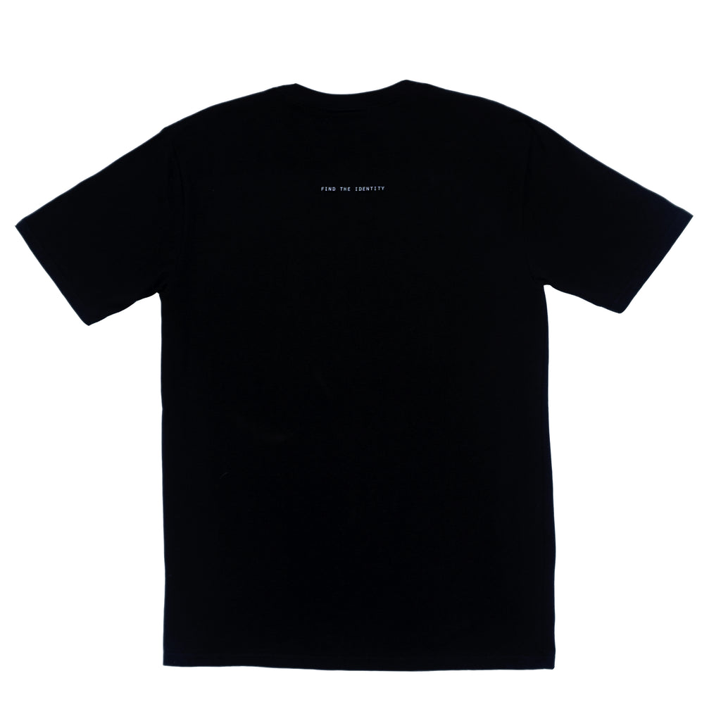 DSNC street minded tee, black,  back side, classic fit t-shirt, graphic tee, find the identity print detail , dsnc brooklyn, dsnc class one T-shirt.