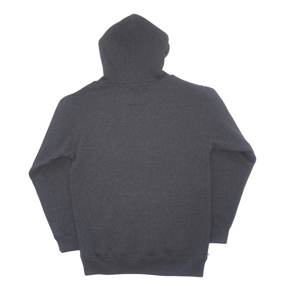 DSNC original pbg hoodie, gray heather, back side of the hoodie, gray hoodie, find the identity print on back, ribbed cuff and hem, dsnc brooklyn,  dsnc class one hoodie, dsnc brooklyn hoodie gray.