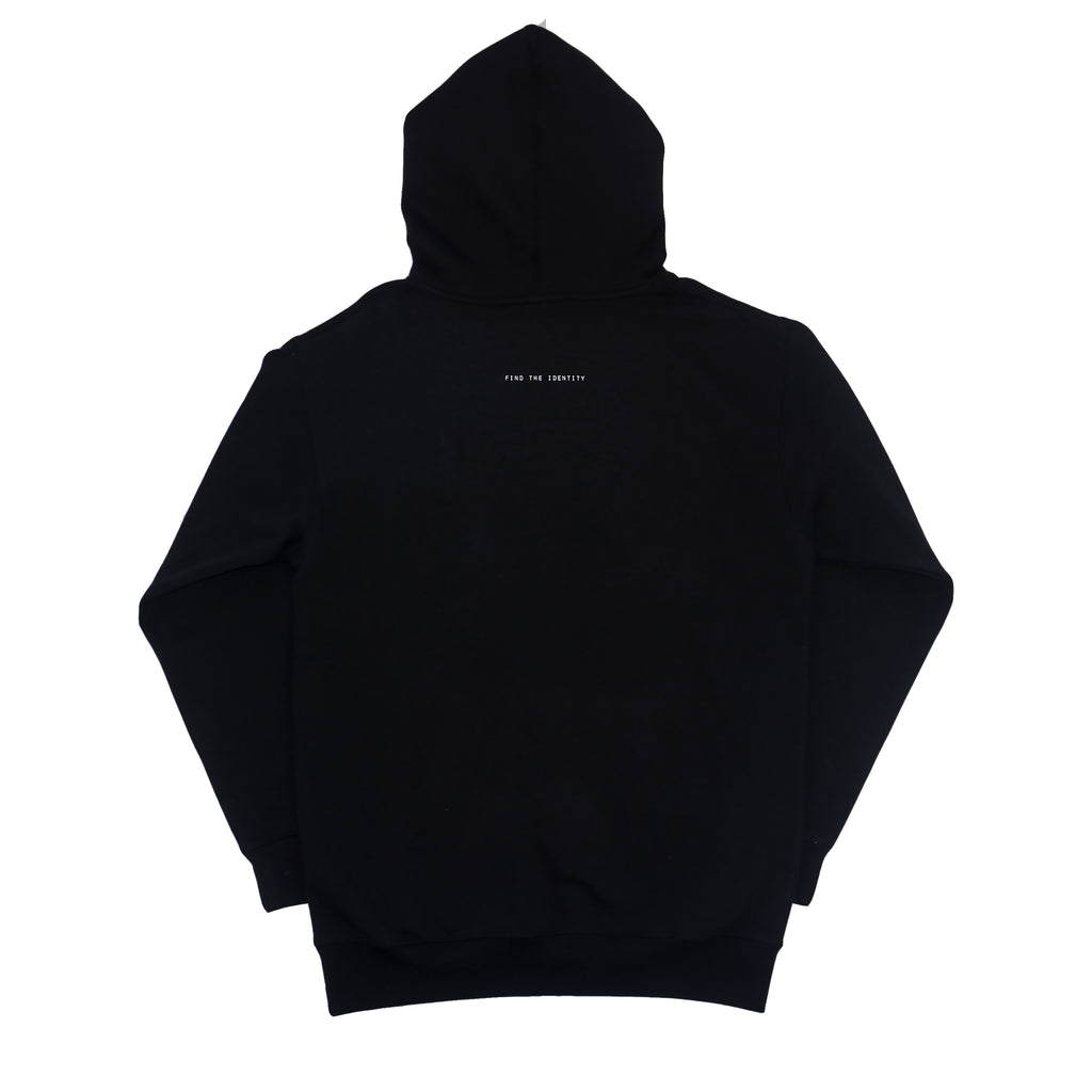DSNC street minded hoodie, black, back side of the hoodie, black hoodie, find the identity print on back, ribbed cuff and hem, dsnc brooklyn,  dsnc class one hoodie.