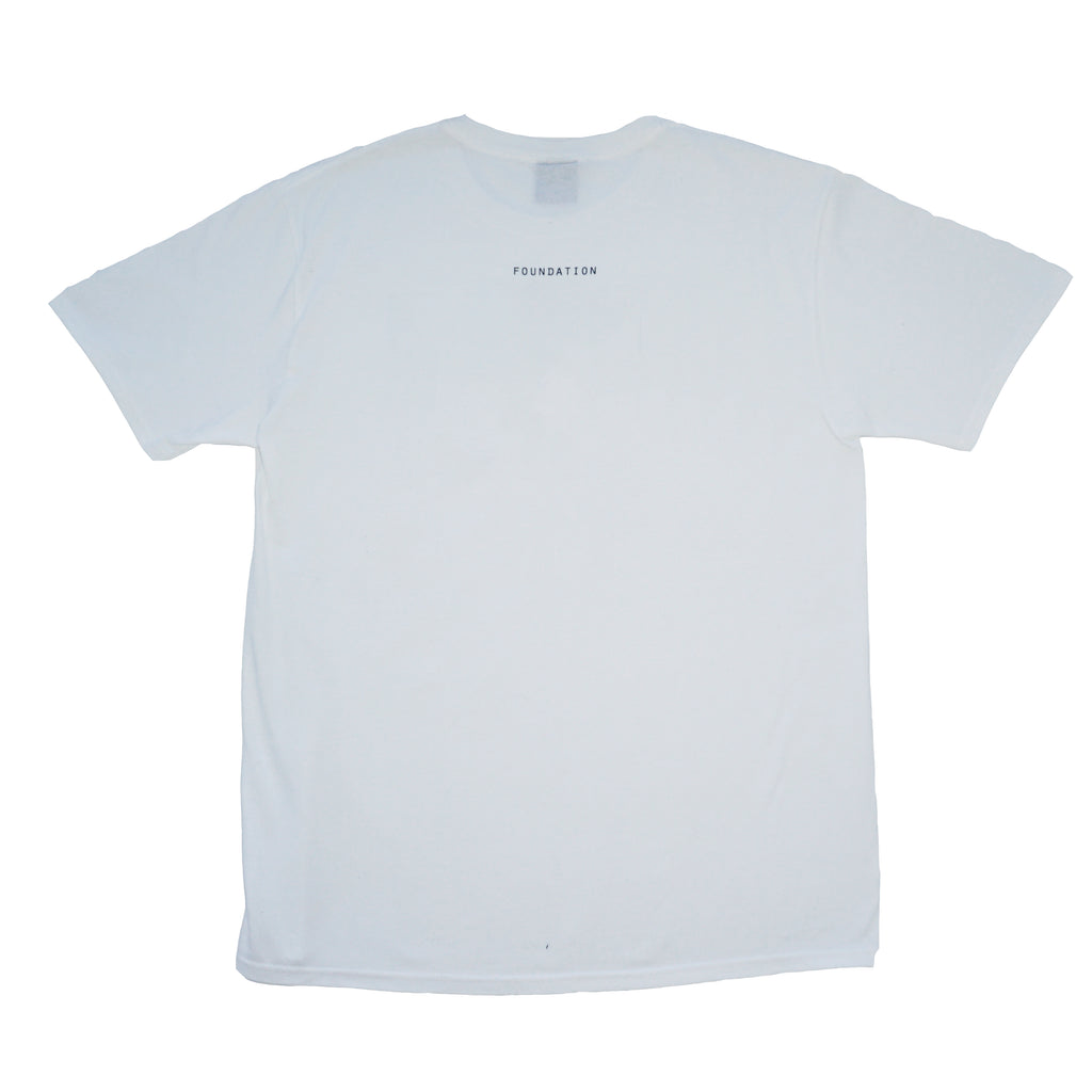 DSNC lost heads tee, white, back side of the tee, classic fit t-shirt, graphic tee, says foundation, dsnc class one T-shirt.
