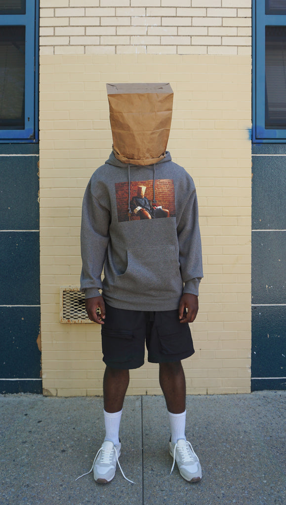 DSNC original pbg hoodie, gray heather, front side of the hoodie, gray hoodie, graphic printed on front,printed photo of a person sitting in a chair, paper bag on the head,, ribbed cuff and hem,dsnc brooklyn, dsnc class one hoodie , full body.