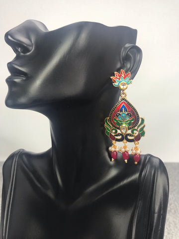 Leena - Enamel Art Deco Inspired Indian Earrings.