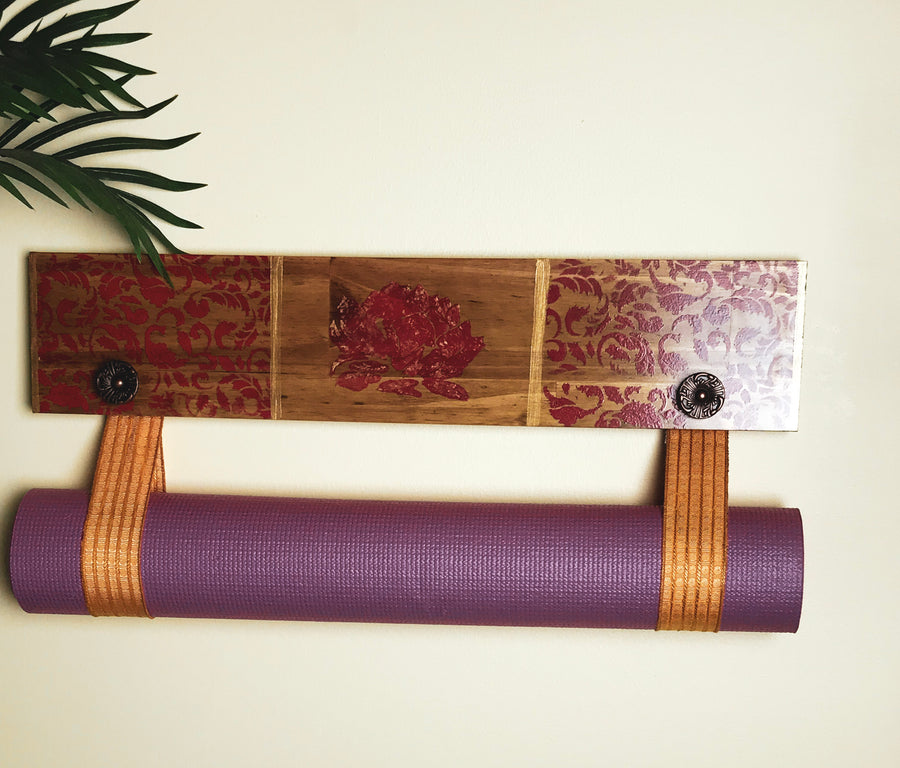 Hand Painted Yellow Tassel Yoga Mat Holder.