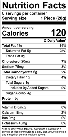 Peanut Butter Chocolate Chip Nutrition Panel
