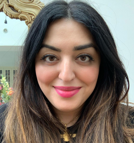 Woman with long, dark brown hair and pink lipstick, Dr Mahtab Chenevix-Trench from Tabbit Eats