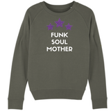 Khaki sweatshirt with white Funk Soul Mother slogan and three pink and blue leopard print stars