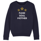 Navy sweatshirt with white Funk Soul Mother slogan and three yellow and pink leopard print stars