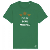 Green crew-neck T-shirt with white Funk Soul Mother slogan and three yellow leopard print stars