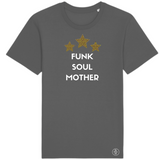 Dark grey crew-neck T-shirt with white Funk Soul Mother slogan and three yellow leopard print stars