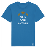 Turquoise crew-neck T-shirt with white Funk Soul Mother slogan and three yellow leopard print stars